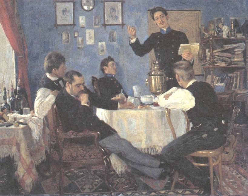 Александр Маковский. Студент, читающий стихи (Чаепитие)