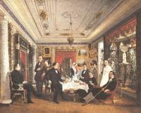 Алексей Волосков. За чайным столом. 1851