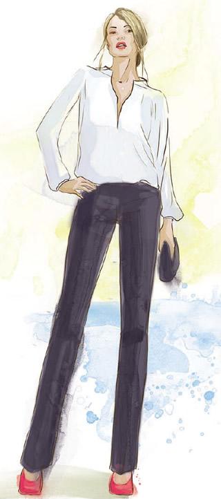 Белая рубашка с черными брюками