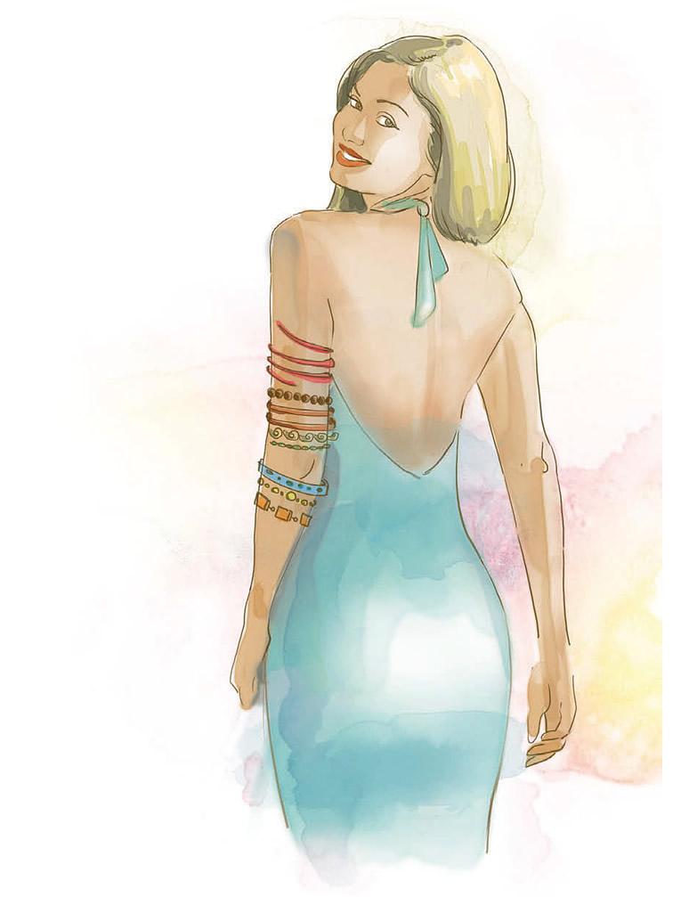 Девушка с украшениями на руке