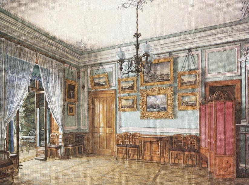 Эдуард Гау. Столовая в Фермерском дворце в Петергофе. 1865