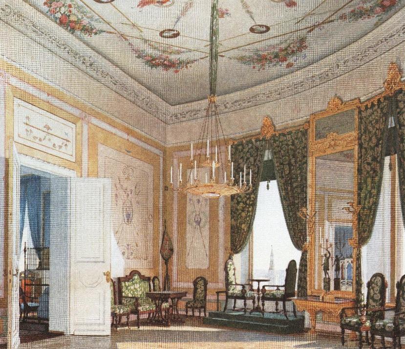 Федор Клагес. Угловая гостиная в Николаевском дворце Московского Кремля. 1847