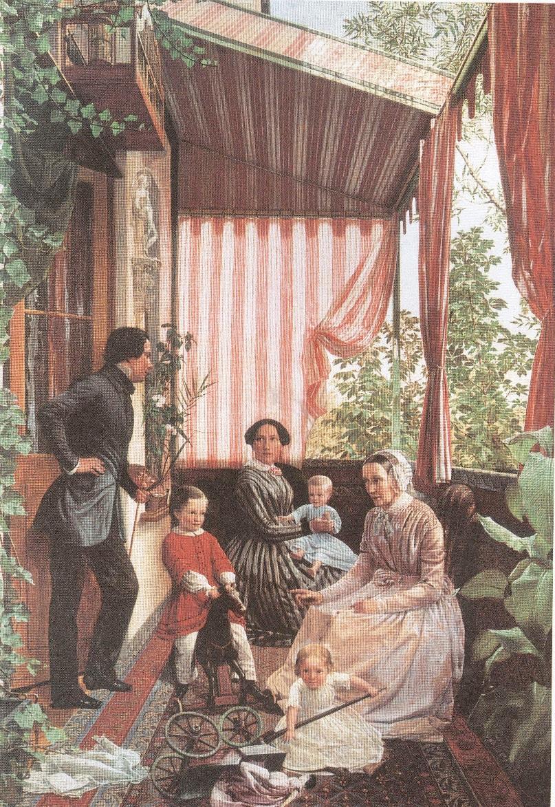 Фёдор Славянский. Семейная картина (на балконе). 1851