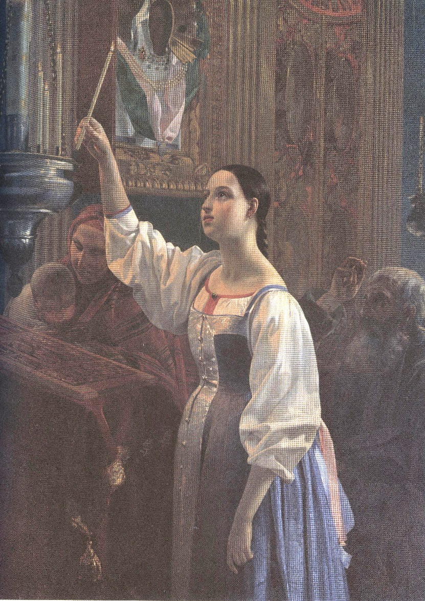 Григорий Михайлов. Девушка, ставящая свечу перед образом. 1842