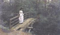 Илья Репин. Летний пейзаж (Вера Алексеевна Репина на мостике в Абрамцеве). 1879