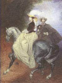 Карл Брюллов. Портрет Е.И.Мюссара и Э.Мюссар (Всадники). 1849