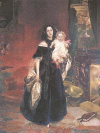 Карл Брюллов. Портрет М.А.Бек с дочерью.1840