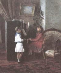 Карл Лемох. Дети у пианино. 1886