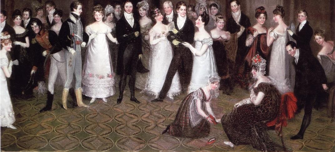Картина «Гардеробная в Клифтонском клубе» (Р. Шарплс, 1817)