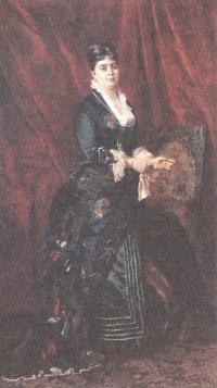Константин Маковский. Портрет молодой жензины в темно-зелёном платье. 1879