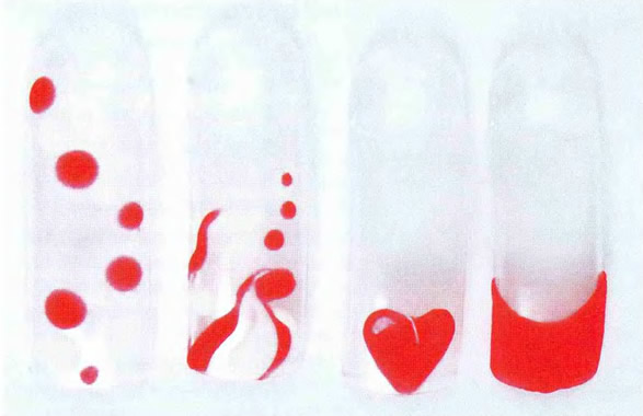 Красно-белый дизайн с использованием пудры Mosaic