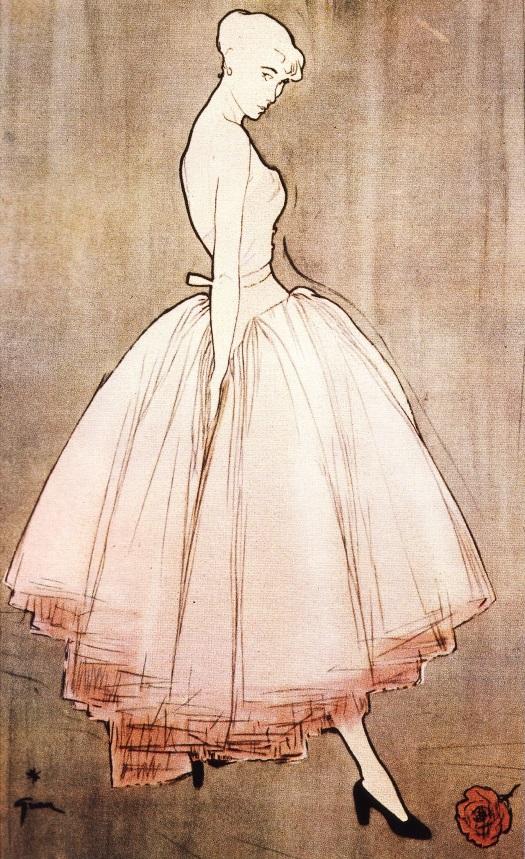 Модный силуэт эпохи 50-х (иллюстратор Рене Грюо)
