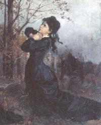 Молодая вдова на могиле мужа