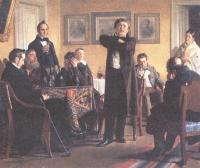 Николай Неврев. П.С.Мочалов среди почитателей. 1888