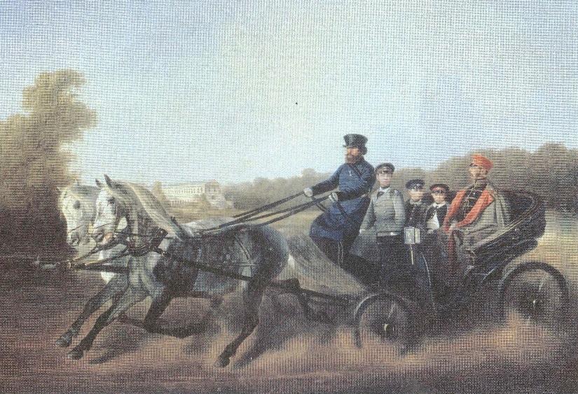 Николай Сверчков. Катание в коляске (Александр II с детьми)