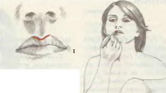 Обведите центральную часть верхней губы