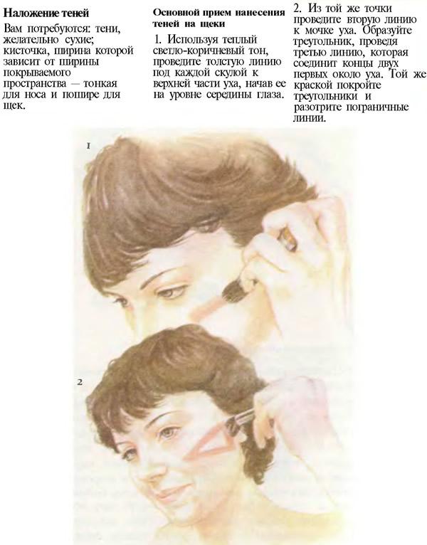 Основной прием нанесения теней на щеки