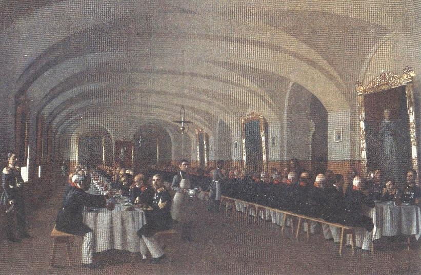 Петр Крымов. Юбилейный обед инвалидов. 1859