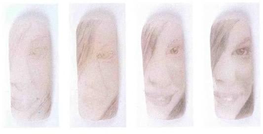 Портрет, выполненный карандашом на ногтях
