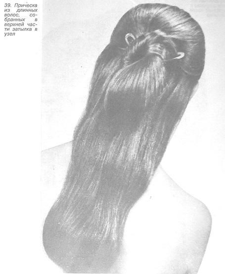 Прическа из длинных волос, собранных в узел