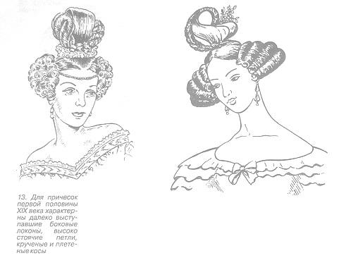 Причёски первой половины XIX века