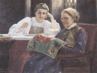 Сергей Милорадович. За вышиванием. 1898