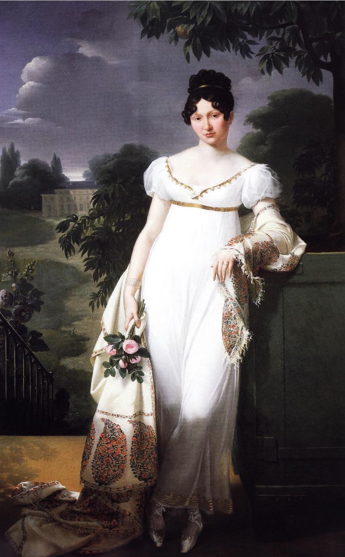 Шаль с рисунком пейсли на портрете Фелисите-Луизы де Дюрфор