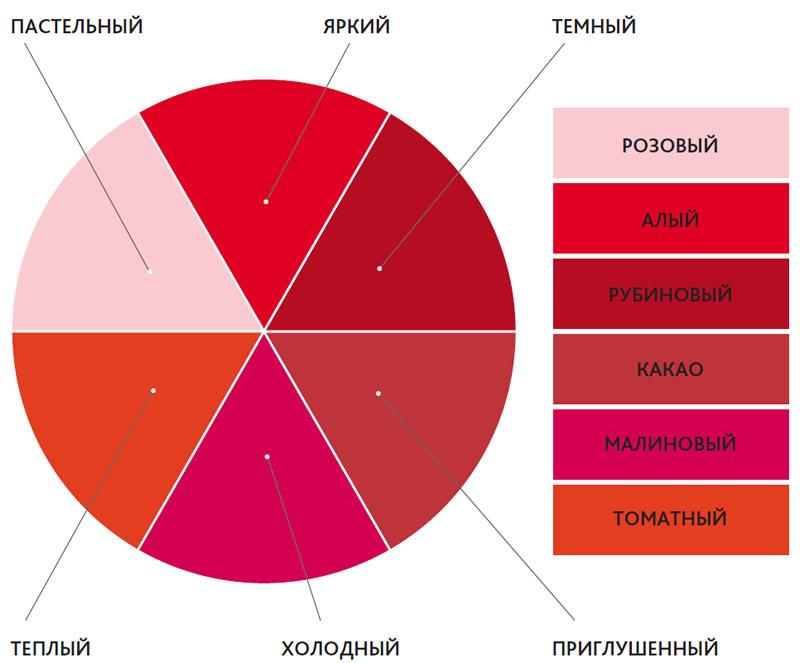 Шесть основных оттенков цвета