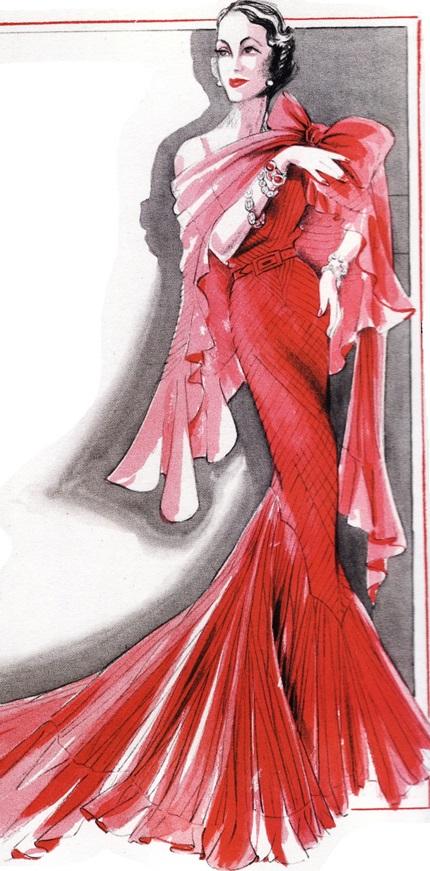 Шифоновое платье-русалка (Норман Хартнелл, 1935г)