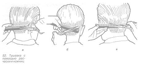 Тушевка с помощью расчёски и ножниц