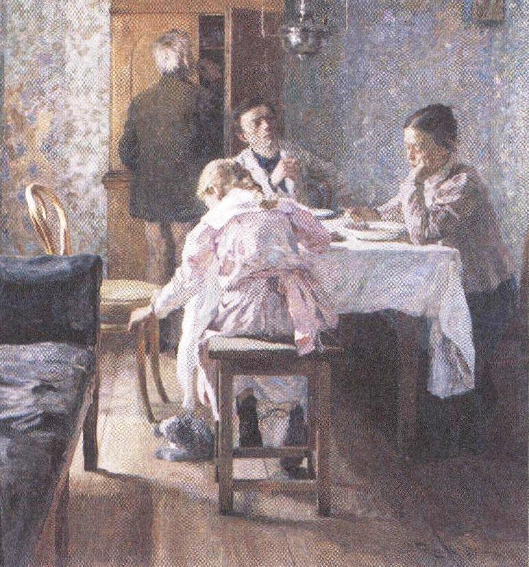 Василий Бакшеев. За обедом. 1901
