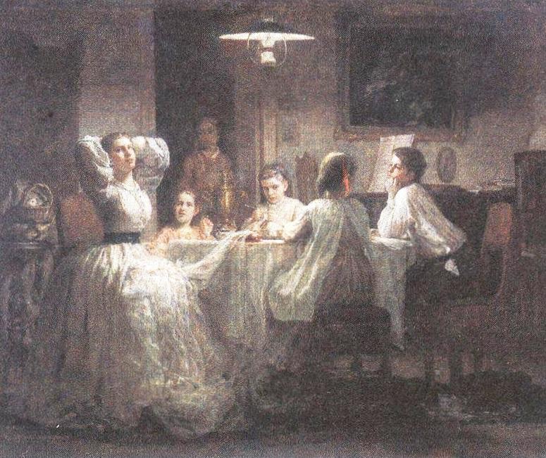 Василий Максимов. Шитьё приданого. 1866