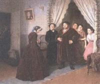 Василий Перов. Приезд гувернантки в купеческий дом. 1866