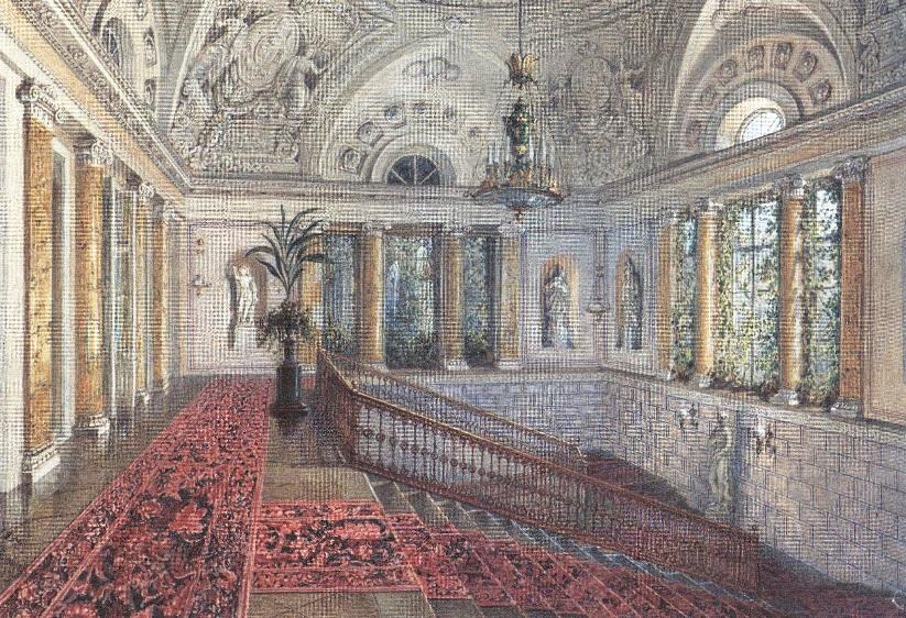 Василий Садовников. Большая мраморная лестница в Зимнем дворце. 1852