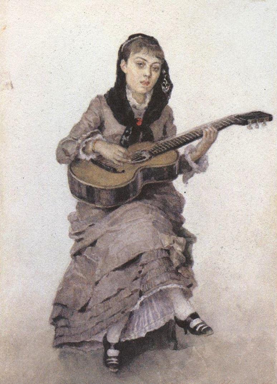 Василий Суриков. С гитарой (Портрет С.А.Кропоткиной). 1882