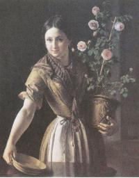 Василий Тропинин. Девушка с горшком роз. 1850