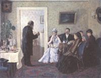 Владимир Пчелин. Молодые у тестя. 1892