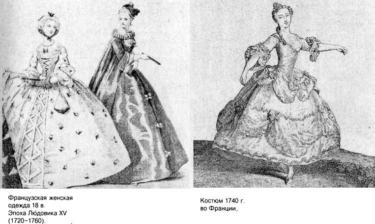 Женская одежда XVIII века во Франции