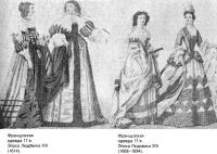 Женские наряды Франции XVII века